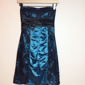Trixxi Teal And Black Lace Dress